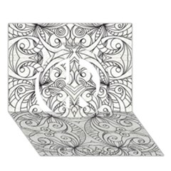 Drawing Floral Doodle 1 Peace Sign 3D Greeting Card (7x5)