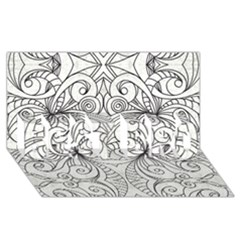 Drawing Floral Doodle 1 BEST BRO 3D Greeting Card (8x4)