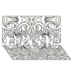 Drawing Floral Doodle 1 Best Sis 3d Greeting Card (8x4)