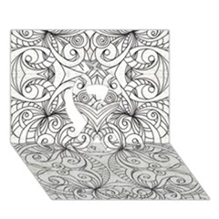 Drawing Floral Doodle 1 Ribbon 3D Greeting Card (7x5)