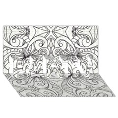 Drawing Floral Doodle 1 PARTY 3D Greeting Card (8x4)
