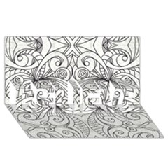 Drawing Floral Doodle 1 BELIEVE 3D Greeting Card (8x4)
