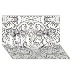 Drawing Floral Doodle 1 HUGS 3D Greeting Card (8x4)
