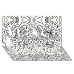 Drawing Floral Doodle 1 Best Wish 3D Greeting Card (8x4)