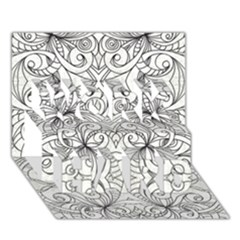 Drawing Floral Doodle 1 Work Hard 3d Greeting Card (7x5)