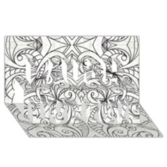 Drawing Floral Doodle 1 Laugh Live Love 3d Greeting Card (8x4)