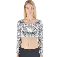 Drawing Floral Doodle 1 Long Sleeve Crop Top