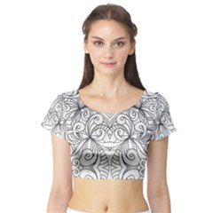 Drawing Floral Doodle 1 Short Sleeve Crop Top