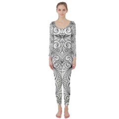 Drawing Floral Doodle 1 Long Sleeve Catsuit
