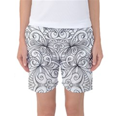 Drawing Floral Doodle 1 Women s Basketball Shorts