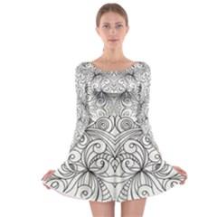 Drawing Floral Doodle 1 Long Sleeve Skater Dress
