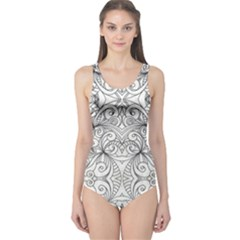 Drawing Floral Doodle 1 Women s One Piece Swimsuits