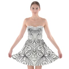 Drawing Floral Doodle 1 Strapless Bra Top Dress