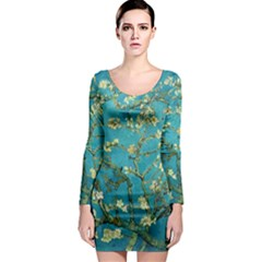 Blossoming Almond Tree Long Sleeve Bodycon Dresses