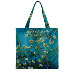 Blossoming Almond Tree Zipper Grocery Tote Bags