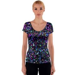 Glitter 1 Women s V-Neck Cap Sleeve Top