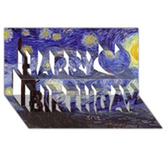 Van Gogh Starry Night Happy Birthday 3d Greeting Card (8x4)