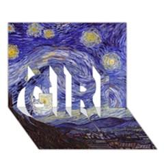 Van Gogh Starry Night GIRL 3D Greeting Card (7x5)