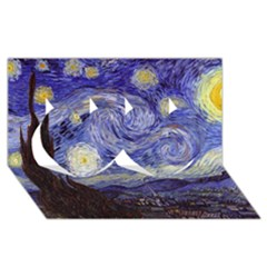 Van Gogh Starry Night Twin Hearts 3d Greeting Card (8x4)