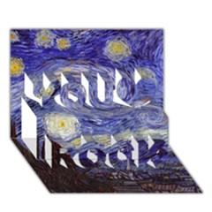 Van Gogh Starry Night You Rock 3D Greeting Card (7x5)