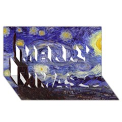 Van Gogh Starry Night Merry Xmas 3D Greeting Card (8x4)