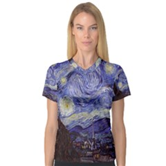 Van Gogh Starry Night Women s V-Neck Sport Mesh Tee