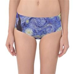 Van Gogh Starry Night Mid Waist Bikini Bottoms