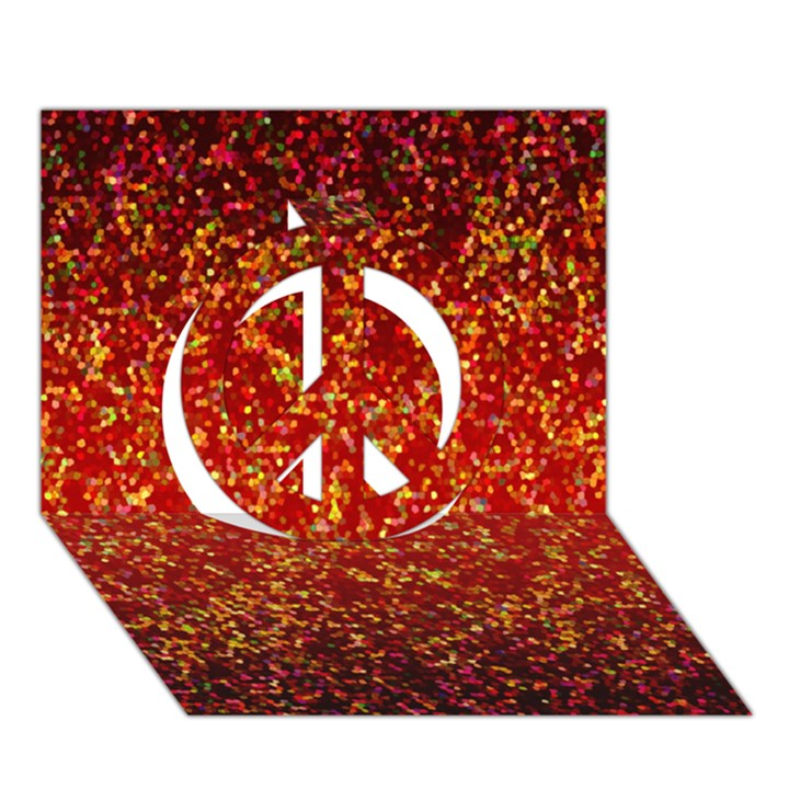 Glitter 3 Peace Sign 3D Greeting Card (7x5)