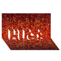 Glitter 3 Hugs 3d Greeting Card (8x4)