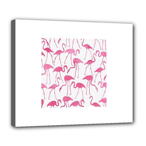 Pink Flamingos Pattern Deluxe Canvas 24  X 20