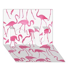 Pink Flamingos Pattern I Love You 3d Greeting Card (7x5)