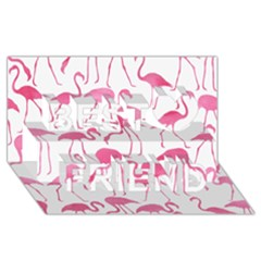 Pink Flamingos Pattern Best Friends 3d Greeting Card (8x4)