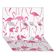Pink Flamingos Pattern BOY 3D Greeting Card (7x5)