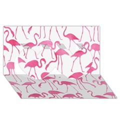 Pink Flamingos Pattern Twin Hearts 3d Greeting Card (8x4)