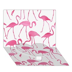 Pink Flamingos Pattern Heart Bottom 3D Greeting Card (7x5)