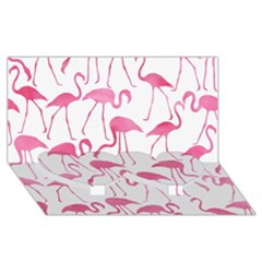 Pink Flamingos Pattern Twin Heart Bottom 3D Greeting Card (8x4)