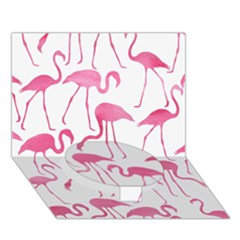 Pink Flamingos Pattern Circle Bottom 3D Greeting Card (7x5)