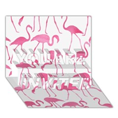 Pink Flamingos Pattern You Are Invited 3d Greeting Card (7x5)