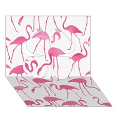 Pink Flamingos Pattern Clover 3D Greeting Card (7x5)