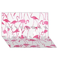 Pink Flamingos Pattern #1 Mom 3d Greeting Cards (8x4)