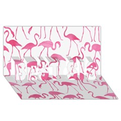 Pink Flamingos Pattern Best Sis 3d Greeting Card (8x4)