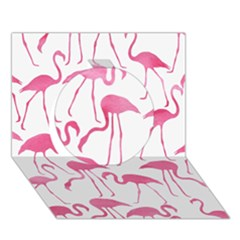 Pink Flamingos Pattern Circle 3D Greeting Card (7x5)