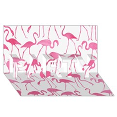 Pink Flamingos Pattern PARTY 3D Greeting Card (8x4)