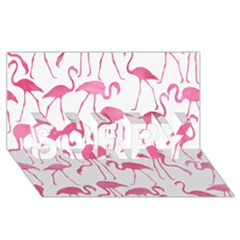 Pink Flamingos Pattern SORRY 3D Greeting Card (8x4)