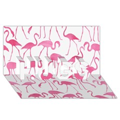 Pink Flamingos Pattern HUGS 3D Greeting Card (8x4)