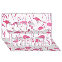 Pink Flamingos Pattern Best Wish 3D Greeting Card (8x4)