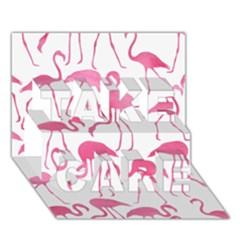 Pink Flamingos Pattern TAKE CARE 3D Greeting Card (7x5)