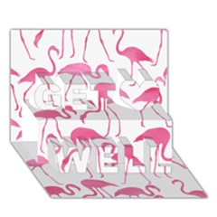 Pink Flamingos Pattern Get Well 3D Greeting Card (7x5)