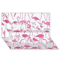 Pink Flamingos Pattern Merry Xmas 3D Greeting Card (8x4)