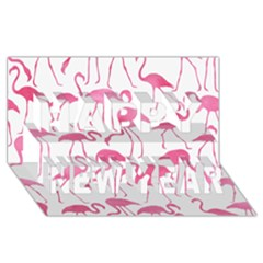 Pink Flamingos Pattern Happy New Year 3d Greeting Card (8x4)